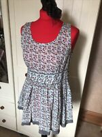 NEXT Ladies Pale Green Pink Ditsy Floral Cotton Sleeveless Flare Tunic Size 12