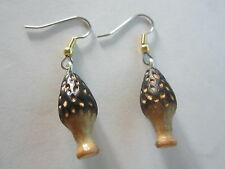 HOMEMADE MOREL MUSHROOM EAR RINGS SURGICAL STEEL HYPO ALLERGENIC  GOLD