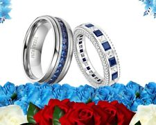 Blue Engagement wedding Band ring set His Titanium and Her Cz sterling Silver