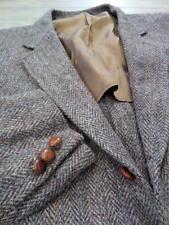 vintage HARRIS TWEED brown 44R blazer HERRINGBONE striped sportscoat