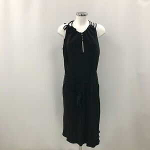 Ronit Zilkha Dress Size UK 16 Sleeveless Tie Up Party Cut Out Style Black 273341