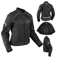 Ladies Textile Jacket Motorcycle Motorbike Armour CE Breathable Summer Black 2X