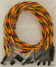 (5) 60CM Twisted 22awg Servo Extension Leads JR / Hitec w/ Built In Safety Clips