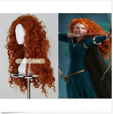Women Fashion Long Heat Resistant Orange Wig Brave Merida Cosplay Anime Full Wig