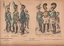 1880 Chromo Fashion print of 1800's German military officer uniforms, Trumpeter