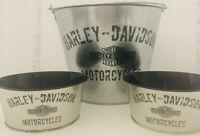 Harley Davidson Roadhouse Collection Tin Snack Bucket Gift Set - Rare