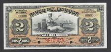Ecuador Banco Del Ecuador 2 Sucre 1-12-1907 Ps154 Back Olive Specimen UNC
