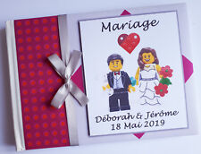 Personalised wedding guest book, building blocks characters wedding guest book