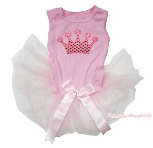 Bling Crown Light Pink Gauze Skirt Pet Dog Puppy One Piece Dress Clothes Outfit