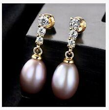 100% 925 Sterling Silver Natural Freshwater Purple Pearls GoldTone Drop Earrings
