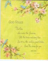 VINTAGE BLUE BIRDS SPRING TREE GARDEN FLOWER BLOSSOMS SCRIPTURE VERSE CARD PRINT