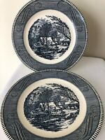 "Vintage Jeannette Royal China Currier & Ives Blue 10"" Dinner Plate Old Mill"