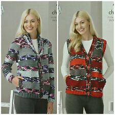 KNITTING PATTERN Ladies V-Neck Jacket &Waistcoat with Side Pockets Chunky 4244