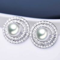 Halo Crystal Rhinestone White Pearl Silver Gold Filled Women Lady Stud Earrings