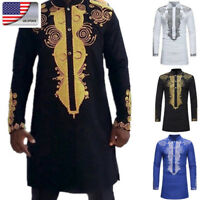 US African Mens Dashiki Casual Shirt Fashion Traditional Stand Collar Long Shirt