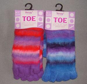 Ladies fun novelty fleece stripe toe socks, pack of 2, size 4-7