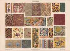 Weberei Samt Gobelin Seide Lithographie von 1897 Seidengewebe Weben