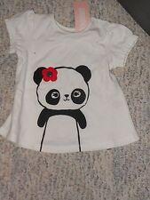 "NWT - Gymboree ""Happy Panda"" short sleeved ivory panda top - 0-3 mos girls"