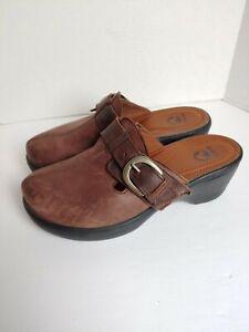 Crocs Womens Size 9 Brown Cobbler Buckle Clog Mules Shoes Leather 15513