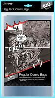 """100 ULTRA PRO REGULAR SIZE COMIC BOOK BAGS New Storage 7-1/8"""" x 10-1/2"""" Sleeves"""