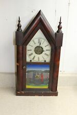 New ListingDaniel Pratt 8 day Steeple or Gothic Shelf Clock with Alarm for Parts or Repair.