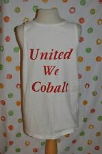 MENS L White UNITED WE COBALT MUSCLE T SHIRT USA BOAT wakeboard EUC FREE SHIPing