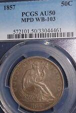 1857 50C MPD WB-103 Liberty Seated Half Dollar PCGS AU50   POPULATION 3