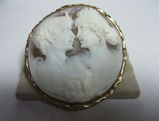VINTAGE 14K SOLID GOLD SHELL CAMEO PENDANT/BROOCH W/ TWO LOVERS SIGNED APA