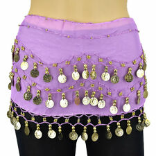 Silver Gold Coins Sequins Beads Band Belly Dance Hip Scarf Wrap Belt Chiffon