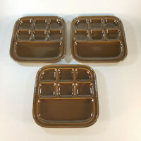 TIL Japan Bento Sushi Plate Brown 3 Piece Lot