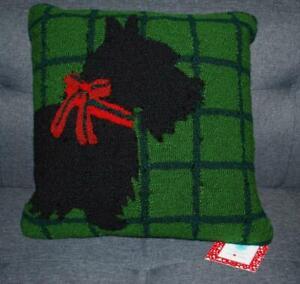 Martha Stewart Hooked Christmas Pillow Scottie Dog Scarf Green New