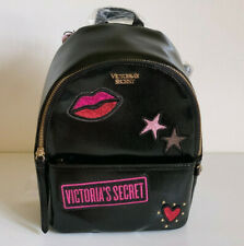 NEW! VICTORIA'S SECRET VS BLACK PATCH SMALL CITY TRAVEL BACKPACK BAG SALE