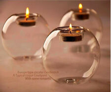 10pc Round Hollow Glass Candle Holder Wedding Fine Candlestick Dining Home Decor