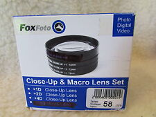 quality  58MM CLOSE-UP LENS SET OF 4 + CASE +1 +2 +4  DIOPTRE CLOSE UP LENSES