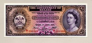 The Government of Belize Two  Dollar Note June 1st 1975