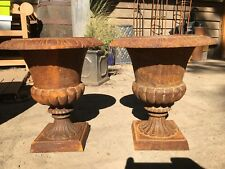 "Impressive pair, cast iron, classical influence Victorian style urns, 12.5"" tall"