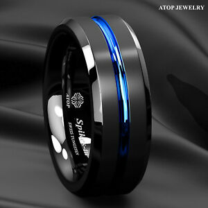 8mm Brushed Black Tungsten Carbide Band Ring Blue Line Bridal ATOP Men's Jewelry