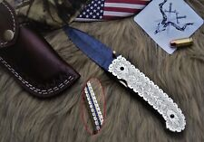 Handmade Damascus Folding Knife 3.5in Titanium Coated Paint Blade, Hand Engraved