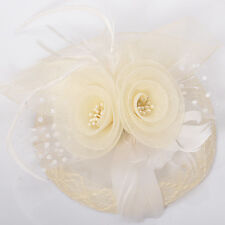ivory wedding lady fascinator feather mesh lace hair clip accessory handmade