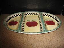 Gibson Antique Apple  Ceramic 3 part Oval Divided Server EUC If used China Tag