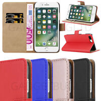 CASE FOR IPHONE 7/8 PLUS REAL GENUINE LEATHER SHOCKPROOF WALLET FLIP COVER