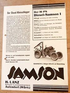 Prospekt Hermann Lanz Aulendorf Schlepper/Bulldog SAMSON I & II Ausgabe ca. 1936