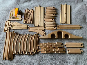 Wooden Train Track 41 Items Bundle Job Lot Brio & Compatible Pieces Bridge Crane