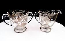 "SILVER CITY ELEGANT GLASS FLANDERS STERLING OVERLAY 3 1/2"" CREAMER AND SUGAR"