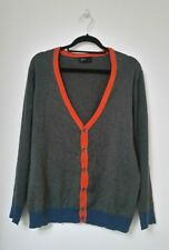 CEDAR WOOD STATE Mens V Neck Cardigan Size L Contrast Trim Grey Sweater Cotton