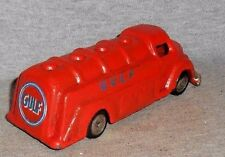 """GULF OIL TANK DELIVERY TRUCK CAST IRON 6"""" L GREAT COLLECTIBLE"""