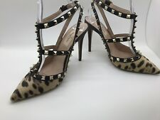 VALENTINO Calf Hair Leopard Print Rockstud Ankle Strap Pumps 37