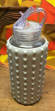Apana 20oz Water Bottle All White Clear Glass White Spikes Silicone Cover Nice!