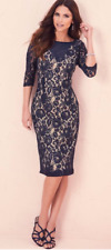 Kaleidescope Three-quarter Sleeve Lace Dress Navy Size UK 14 Dh088 FF 11