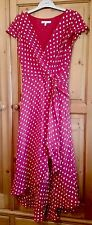 Laura Ashley red and white polka dot long lined dress size 8